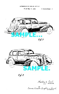 Patent Art: 1934 LASALLE AUTOMOBILE - matted (Image1)