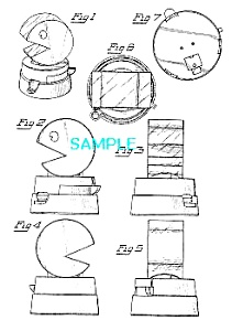 Patent Art: 1980s PACMAN SHAPED CANDY DISPENSER-matted (Image1)