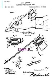 Patent Art: 1890s Lewis Perforating Pen - TATTOO (Image1)