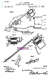 Patent Art: 1890s Lewis Perforating Pen - TATTOO (Image1)