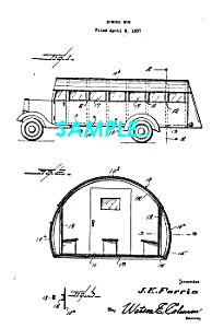 Patent Art: 1938 SCHOOL BUS - Matted Print (Image1)