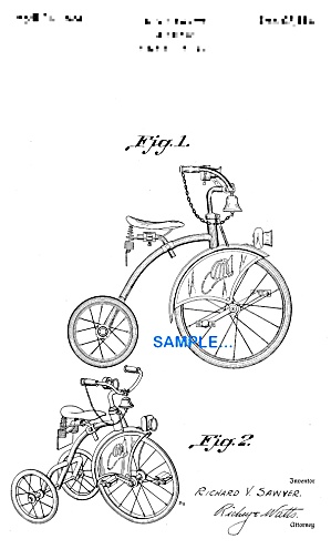 Patent Art: 1930s Firetruck TRICYCLE Velocipede (Image1)