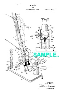 Patent Art: 1930s Marx CLIMBING FIREMAN Tin Toy (Image1)