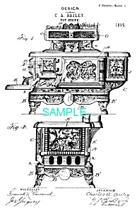Patent Art: 1890s Toy Cast Iron Stove ..the Rival..