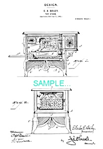 Patent Art: Bailey Toy Cast Iron Stove