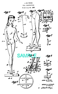 Patent Art: 1959 BARBIE DOLL No. 1 - Matted Print (Image1)