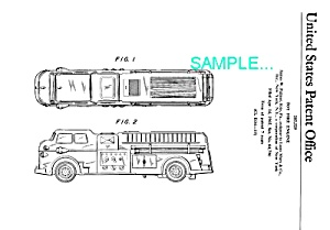 Patent Art: 1960s MARX TOY FIRE TRUCK - matted (Image1)