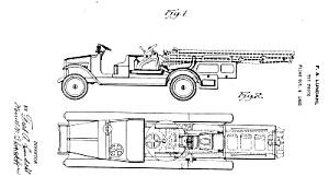 Patent Art: 1920s Lundahl - BUDDY L  TOY FIRE TRUCK (Image1)