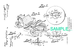 Patent Art: 1900s Kingsbury Toy Car Motor - Matted