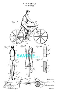 Patent Art: 1890s Early TOY BICYCLE - matted (Image1)