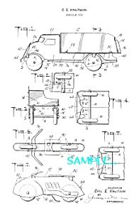 Patent Art: 1930s MARX Motorcycle - Car Toys-matted (Image1)