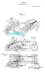 Patent Art: 1920s MARX Motorcycle - Car Toys-matted (Image1)