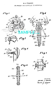 Patent Art: 1950s Gyro TOY MOTORCYCLE - matted (Image1)