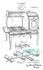 Patent Art: 1920s HUBLEY TOY CAST IRON STOVE (Image1)