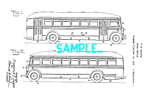 Patent Art: 1930s TRAVEL BUS DESIGN - Matted Print (Image1)