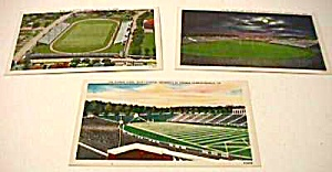 Lot of 3 Vintage FOOTBALL STADIUM Postcards (Image1)