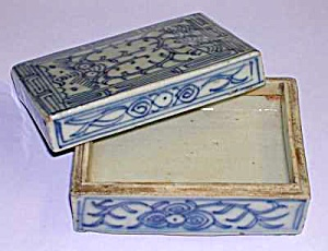 18th Century CHINESE Blue & White SEAL PASTE BOX (Image1)