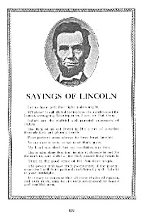 1927 ABRAHAM LINCOLN -Sayings of Lincoln PAGE (Image1)