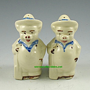 Vintage Shawnee Farmer Pigs Salt Pepper Shakers