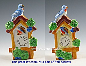 Pair Lustreware Japan Cuckoo Clocks Wall Pockets