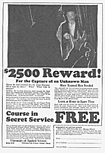 1927 SECRET SERVICE TRAINING Mag. Ad (Image1)