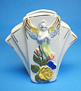 Wonderful Vintage Floral W/angel Pottery Wall Pocket