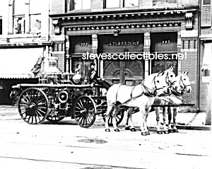 C.1911 York, Pa Horse Drawn Fire Engine Photo B -8 X 10