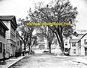 c.1893 PLYMOUTH, MASS. Street Scene+Church Photo - 8x10 (Image1)
