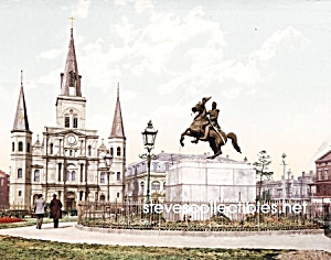 c.1900 NEW ORLEANS, Jackson Square and Cathedral Photo (Image1)