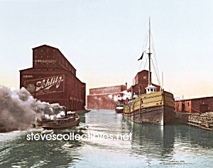 c.1900 CHICAGO RIVER ELEVATORS Schlitz Beer Photo-8x10 (Image1)