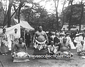 c.1905 THREE CHAMPION SUMO WRESTLERS Wrestling - Photo (Image1)