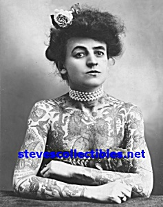 C.1907 Fully Tattooed Lady Side Show - Photo