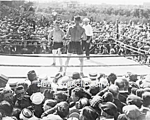 c.1919 OUTDOOR BOXERS IN RING-Referee-Audience - Photo (Image1)