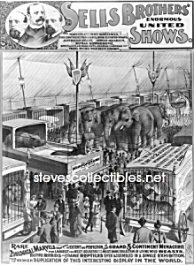 C.1895 Sells Brothers Animal Circus - Photo - 8 X 10