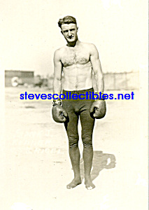 C.1918 Hot Muscular Shirtless Boxer Outdoors- Gay Int.