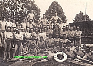 1912 Huge Group Of Shirtless Male Swimmers Photo-gay Int