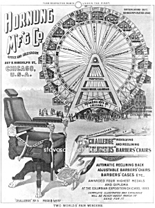 c.1895 WORLDS FAIR Ferris Wheel BARBER CHAIR Adv. Print (Image1)