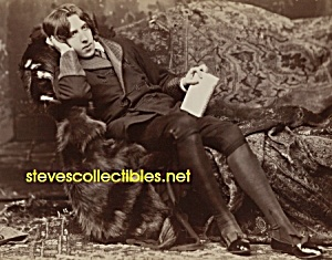 c.1882 Oscar Wilde Posing w/Book -GAY INTEREST Fabulous (Image1)