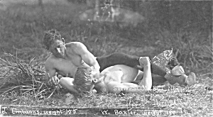 c.1900 HOT MUSCULAR Shirtless Scissor Hold Photo (Image1)