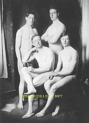 Ca.1910 Weird Nudist Men-family? Photo Must See