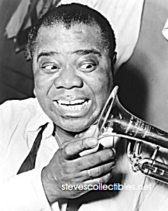 1953 LOUIS ARMSTRONG With Trumpet Photo-8x10 (Image1)