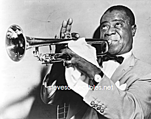 1953 LOUIS ARMSTRONG Playing Trumpet Photo-8x10 (Image1)