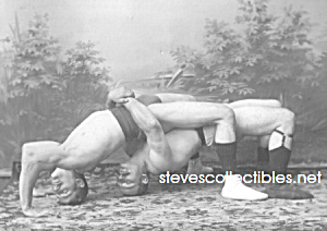 c.1912 Hot MALE WRESTLING HOLD Wrestlers Photo A-matted (Image1)