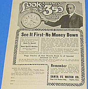 1922 Santa Fe-illinois Pocket Watches Ad