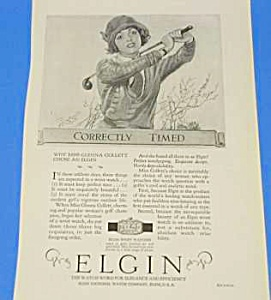 1925 GOLF THEMED Elgin Pocket Watch Ad (Image1)