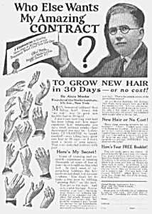 1927 Hair Restorer That Really Works Quack Ad