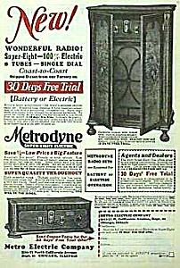 1928 METRODYNE WOODEN RADIO Mag. Ad (Image1)