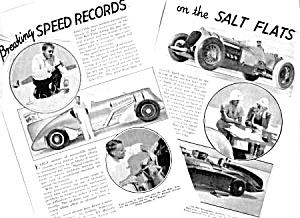 1937 BREAKING SPEED RECORDS Salt Flats Mag. Article (Image1)