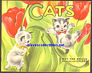 Cats Wet The Brush To Bring Coloring Book Saalfield