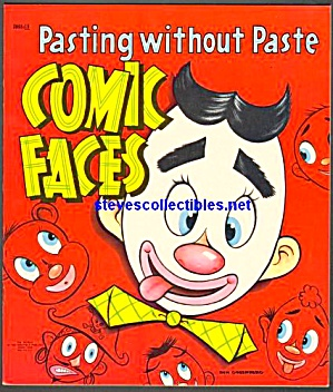 1954 Comic Faces Sticker Book - Saalfield